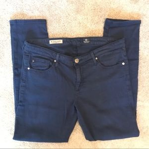 AG Stevie ankle slim straight jeans in Navy Blue